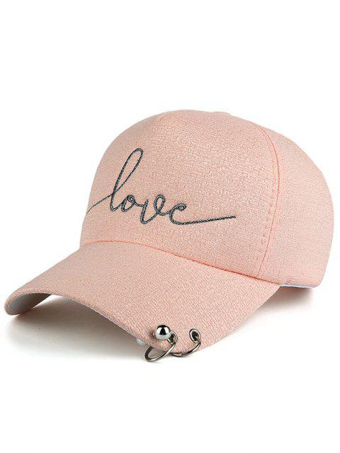 Chapeau de base-ball imprimé lettres embelli perles cercle métallique - ROSE PÂLE  Mobile