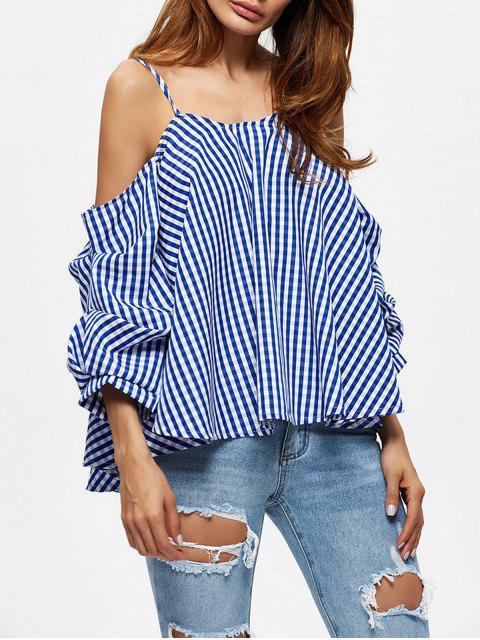 Blusa de Cuadros con Hombros al Aire - Azul XL Mobile