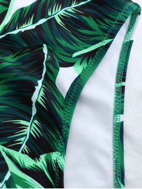 online High Cut Lace Up Leaf Print Swimwear - GREEN S Mobile
