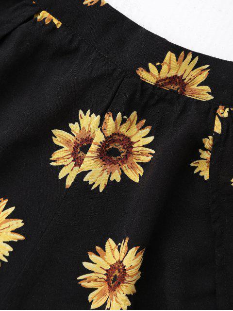 Haut court épaules dénudées avec shorts imprimés tournesol - Noir M Mobile