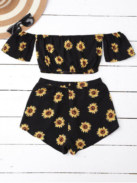 outfit Off Shoulder Crop Top and Sunflower Shorts - BLACK XL Mobile