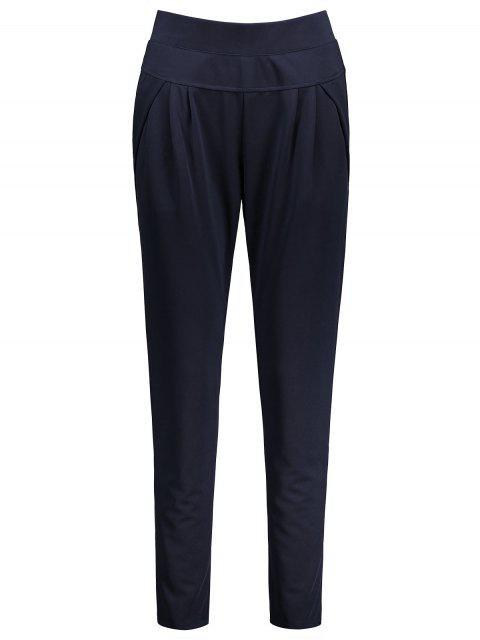 Pantallon à Taille élastique Longueur Cheville Grande Taille - Bleu Violet 4XL Mobile