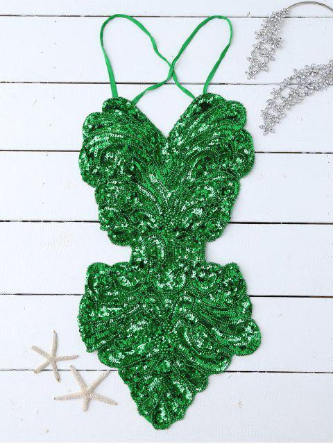 trendy Beaded Cross Back Sequins Teddies - GREEN ONE SIZE Mobile