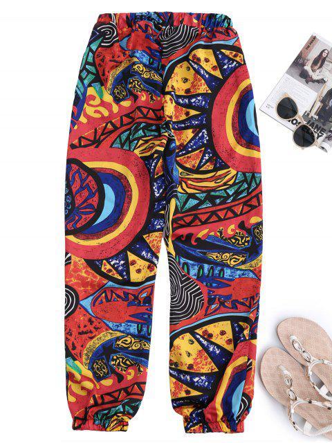 Pantalones de playa cónicos con cordón y estampado de graffiti - Colores Mezclados XL Mobile