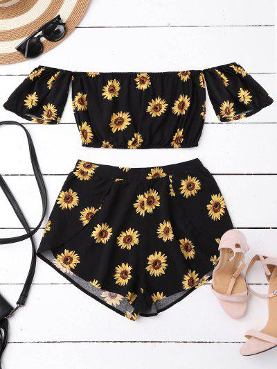 Off Shoulder Crop Top And Sunflower Shorts - Black S