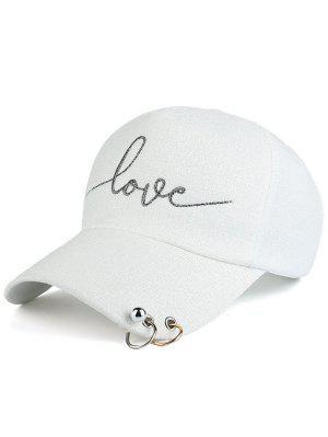 Chapeau De Base-ball Imprimé Lettres Embelli Perles Cercle Métallique - Blanc
