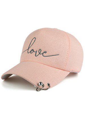 Chapeau De Base-ball Imprimé Lettres Embelli Perles Cercle Métallique - Rose PÂle