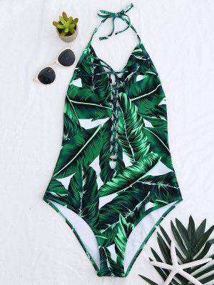 High Cut Lace Up Leaf Print Swimwear - Green L