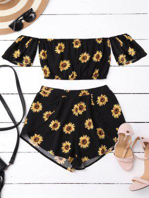 Off Shoulder Crop Top And Sunflower Shorts - Black Xl
