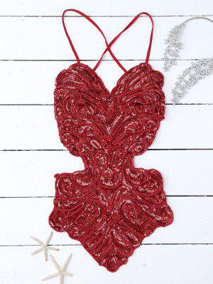 Beaded Cross Back Sequins Teddies - Red