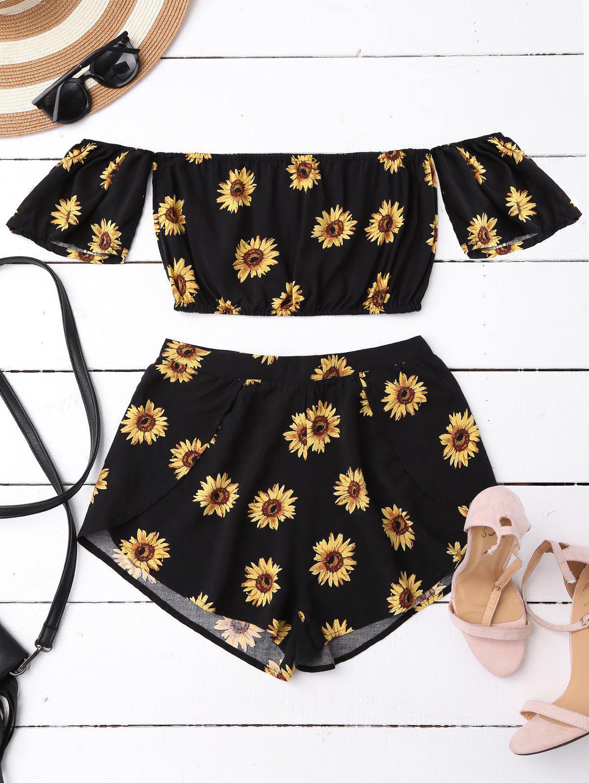 Off Shoulder Crop Top and Sunflower Shorts, Black