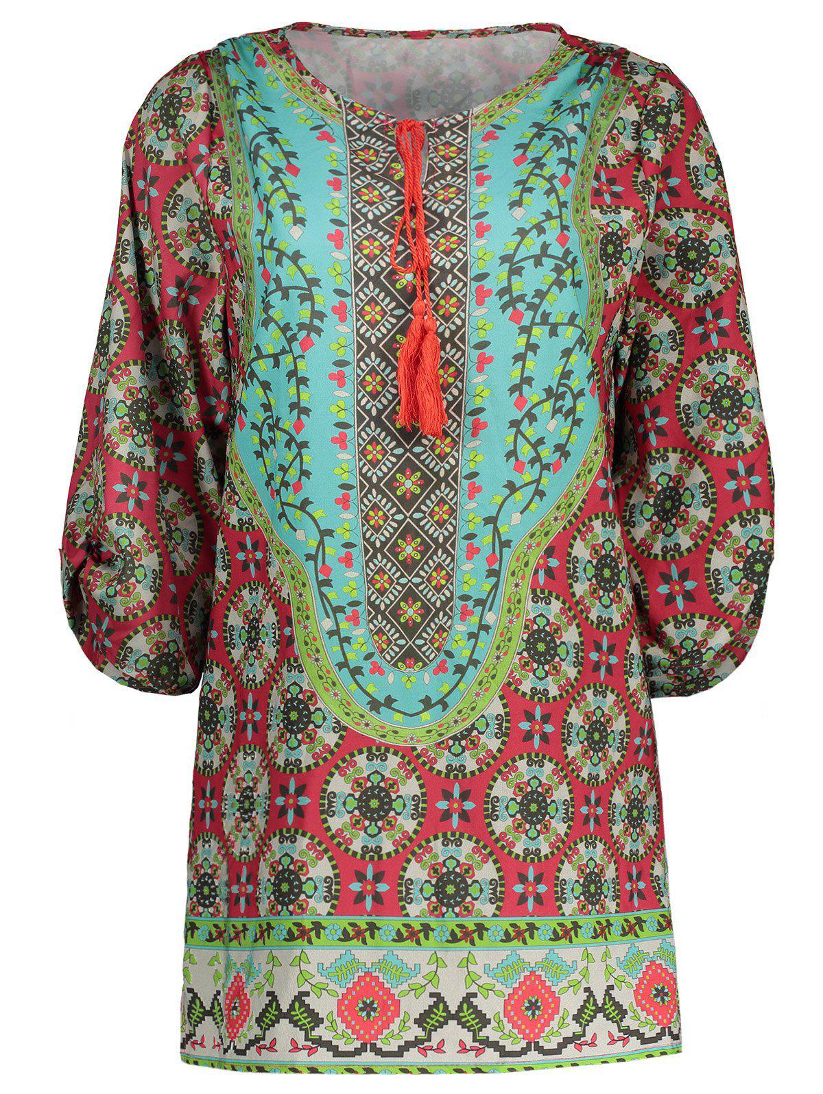 Drawstring Bohemian Print Shift Dress 210820204