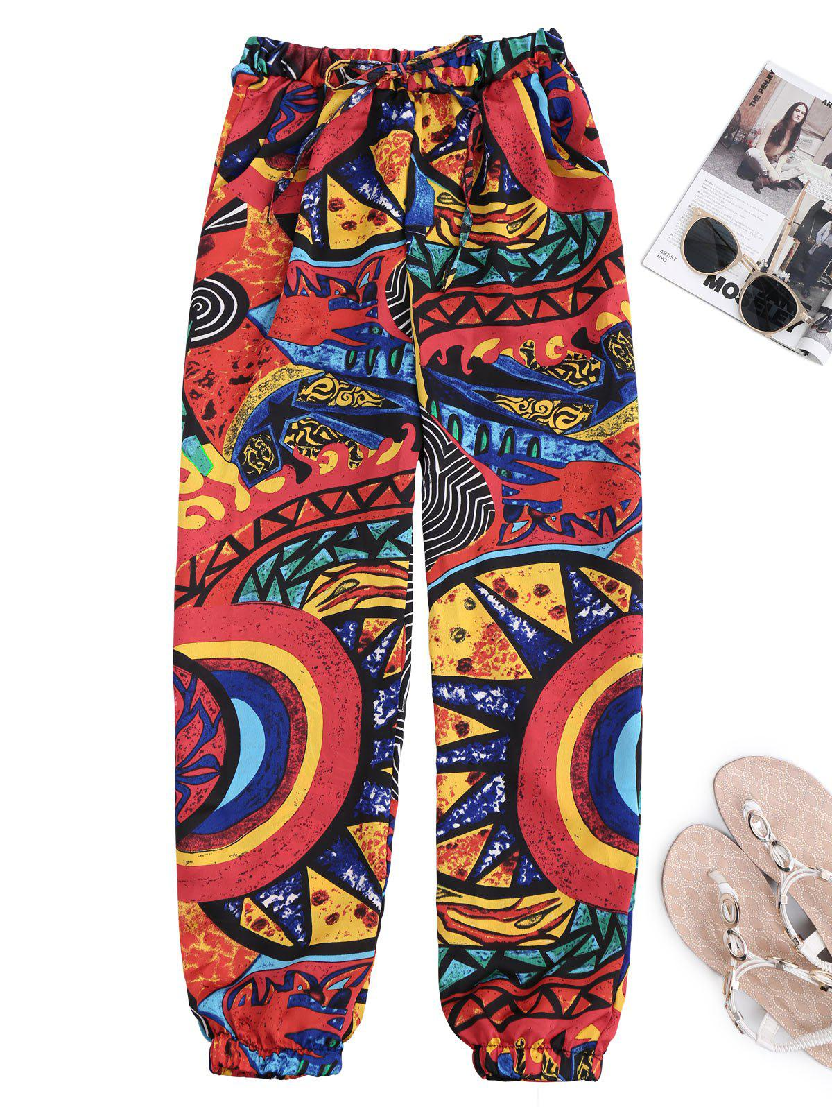 Graffiti Print Drawstring Tapered Beach Pants