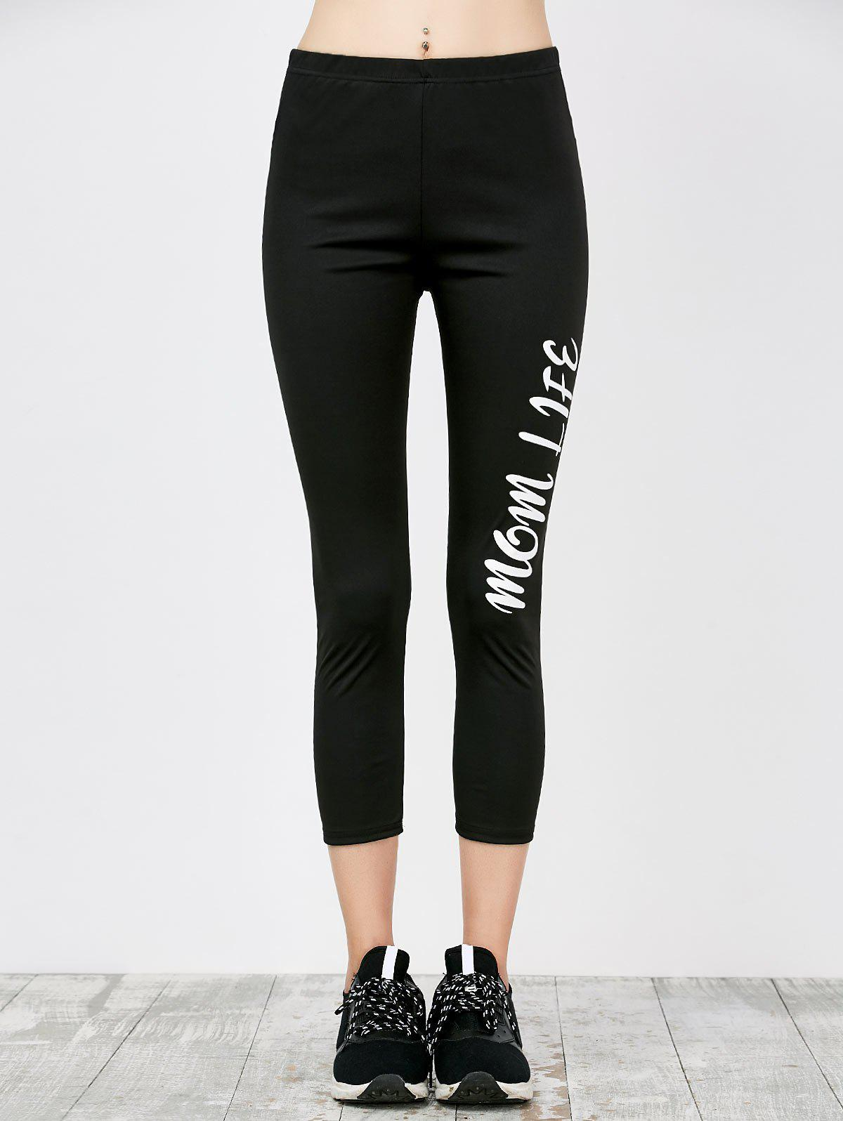 Skinny Letter Print Workout Capri Pants 210635201