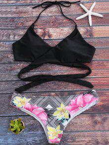 Halter Zig Zag Floral Wrap Bikini Set - Black S