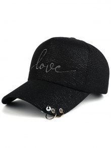 الخرز دائرة معدنية خطابات قبعة البيسبول - أسود