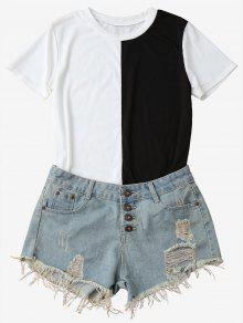 Two-Tone Short Sleeve T-Shirt - Black S