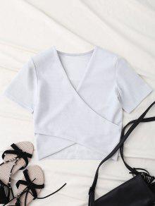 Hilo De Oro Camisa Corta Wrap Delantero - Blanco L