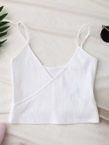 Buy Ribbed Surplice Cropped Cami Tank Top - WHITE ONE SIZE