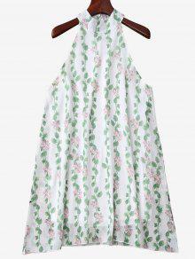 فستان ماندرين الرقبة طباعة النبات بلا أكمام - أخضر M