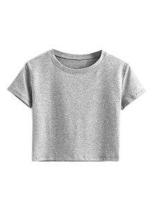 Short Sleeve Mock Neck Cropped Tee - Gray M