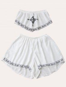 Print Chiffon Tube Top And Shorts - White S