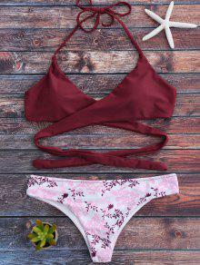 Halter Gewicktes Bikini Set Mit Kleineblumen - Rot M