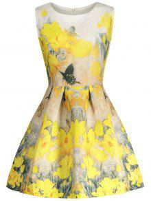 Floral Manches Imprimer Robe Patineuse - Jaune M