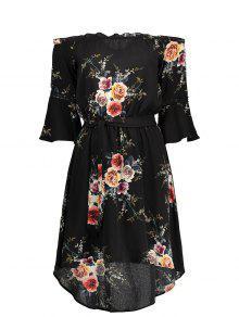 فستان بلا اكتاف طباعة الأزهار شيفون - أسود M