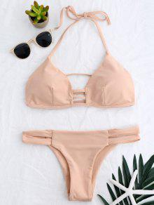 Banded Ladder Cut Out Bathing Suit - Pinkbeige L