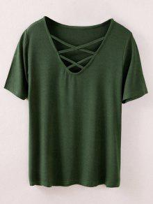 Strappy T-Shirt - Army Green S