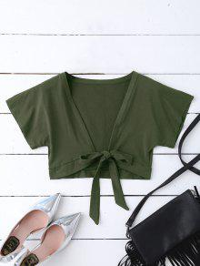 Knot Hem Open Front Cropped Top - Army Green