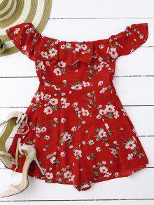 Off Shoulder Floral Skirted Romper - Red L