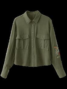 Floral Embroidered Double Pockets Shirt - Army Green M