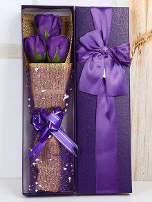 زهرة صابون اصطناع لهدية العيد مع صندوقها - أرجواني