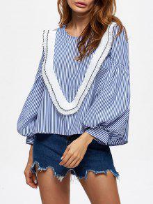 Stripes Ruffles Blouse - Blue Xl