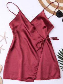 قميص نوم من الحرير بأربطة - نبيذ أحمر M