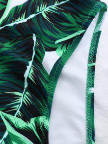 e6161a4c43 23% OFF  2019 High Cut Lace Up Leaf Print Swimwear In GREEN S
