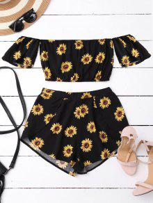 Off Shoulder Crop Top And Sunflower Shorts - Black Xl
