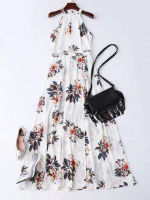 فستان بوهيمي زهري مفتوحة الظهر ماكسي - أبيض L