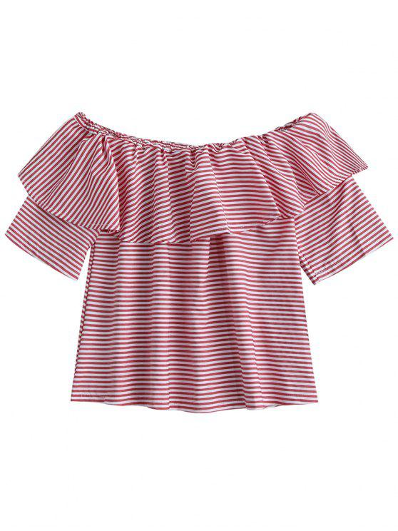 fancy Off Shoulder Ruffle Striped Top - LIGHT PINK S