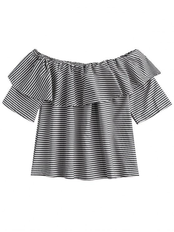 women Off Shoulder Ruffle Striped Top - BLACK L