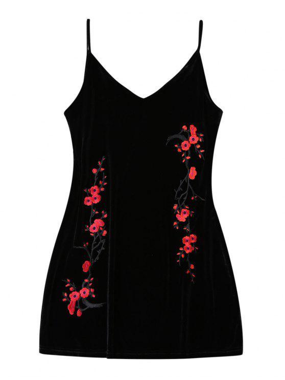 hot Embroidered Floral Patch Velvet Sleepwear - BLACK L