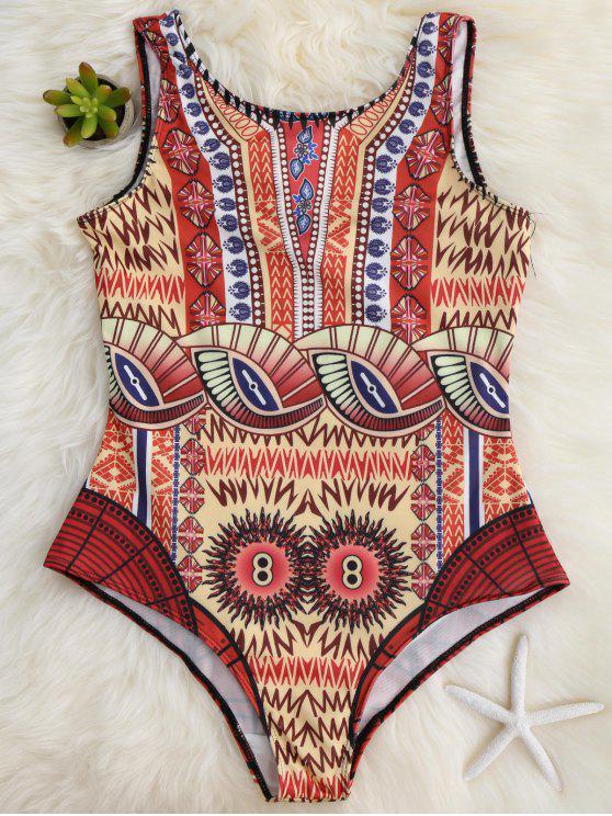 women's Slimming Scoop One Piece Swimsuit - YELLOW L