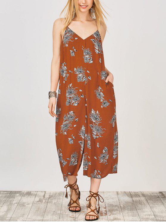 lady Cami Floral Wide Leg Jumpsuit - EARTHY L