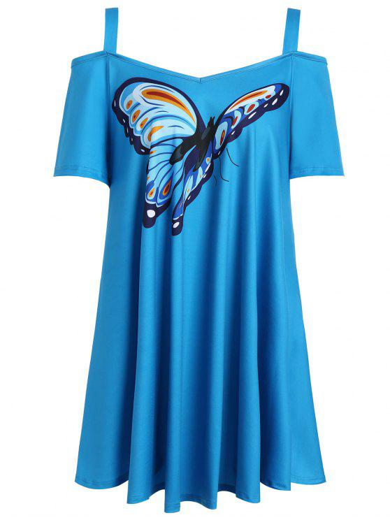 sale Butterfly Print Cold Shoulder Plus Size Top - BLUE XL