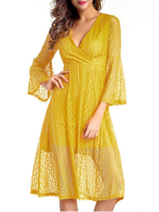 فستان ميدي دانتيل الرقبة V - الأصفر M