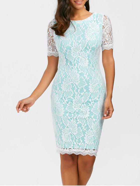 فستان ضيق ملائم ركبة الطول طباعة الأزهار دانتيل - الضوء الأزرق XL