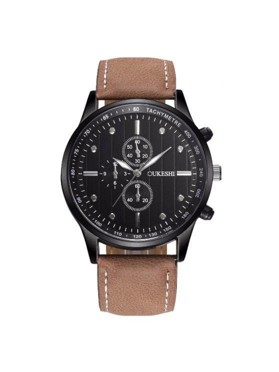 ساعة بجلد اصطناعي OUKESHI - الأسود وبراون