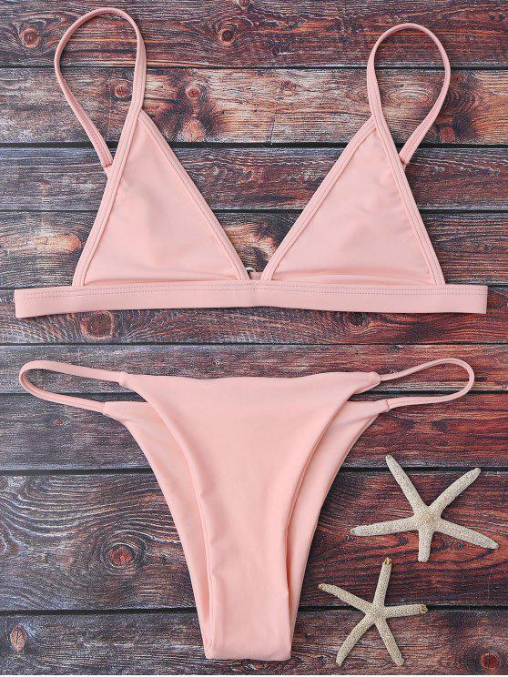 outfits Cami Plunge String Bikini Set - PINK L